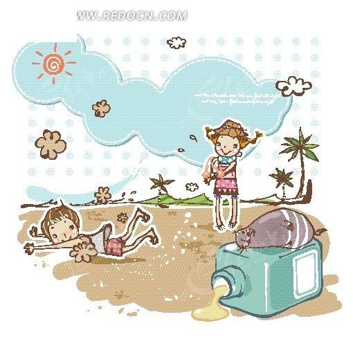 沙滩卡通画_博客秀;