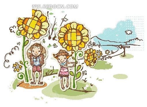 向日葵下的男孩女孩卡通画