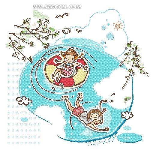 水池里的男孩女孩卡通画