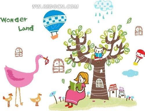 树下看书的女孩和鸟卡通画矢量图