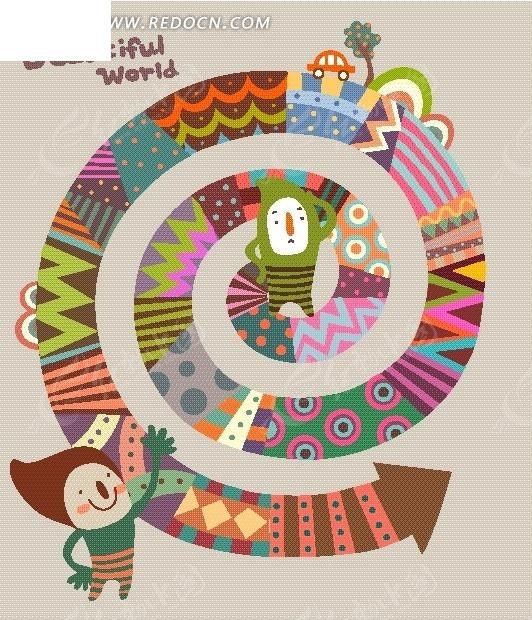 彩色螺旋图案 人 汽车 树木 卡通画 卡通人物 卡通人物图片 漫画人物