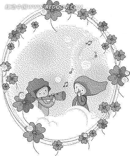四叶草 音符 云朵 儿童 黑白卡通画 卡通人物 卡通人物图片 漫画人物