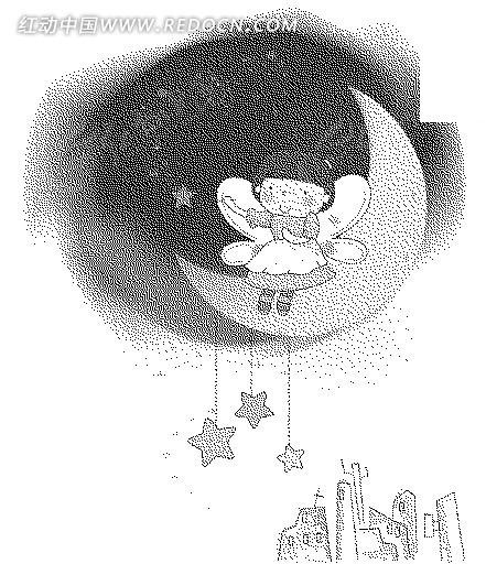 建筑 星星 月亮