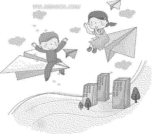 高楼大厦和纸飞机上的男孩女孩黑白卡通画