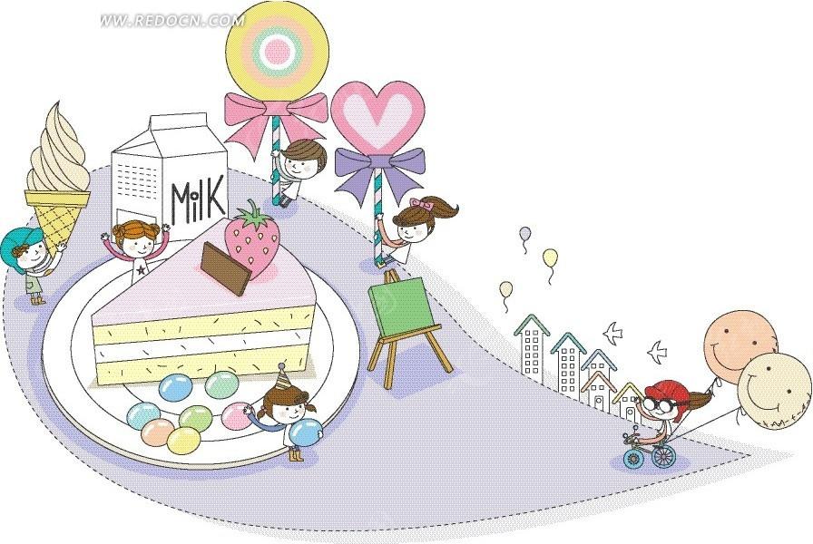 盘子里的蛋糕和开心的男孩女孩卡通画矢量图