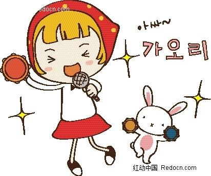 矢量卡通插画-小女孩和小白兔跳舞唱歌