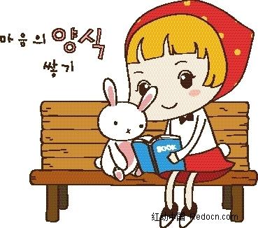 矢量卡通插画-小女孩和小白兔在椅子上看书