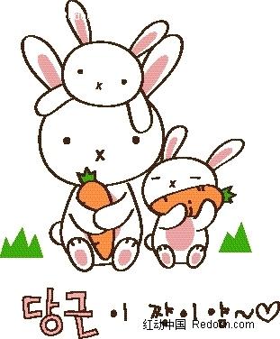 矢量卡通插画-吃萝卜的小白兔
