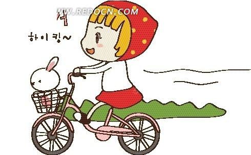 卡通插画 草地骑自行车的小女孩和小白兔矢量图EPS免费下载 卡通图片