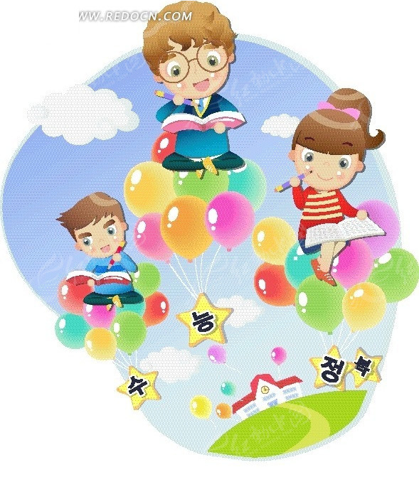 坐在彩色气球上看书的小女孩和小男孩图片