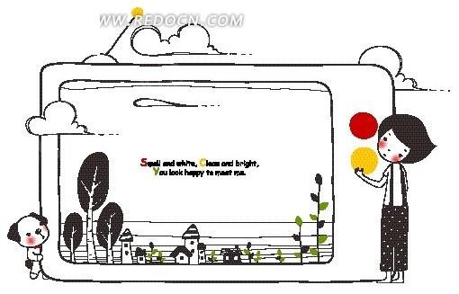 卡通画—电视机里的房屋和绿树以及电视机两边的男孩和狗
