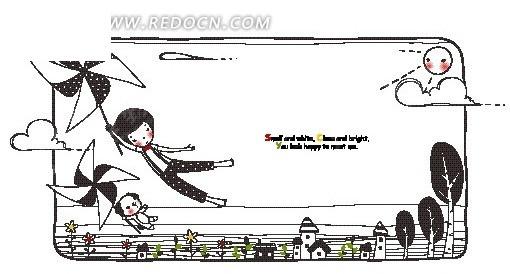 手绘抓着发风车飞起的小狗和小男孩