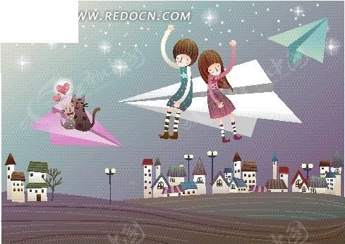 卡通坐在纸飞机上可爱情侣和小猫