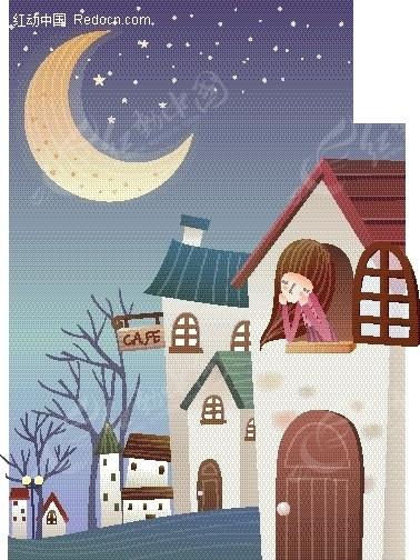 卡通儿童插画——星空下靠在窗边可爱女孩图片