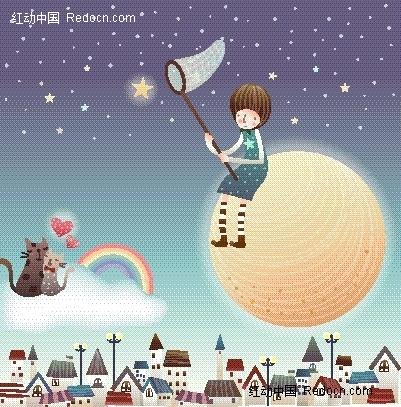 圆月 星星 星空 猫咪 彩虹 男孩 卡通 绘画 矢量素材 手绘 插画 卡通