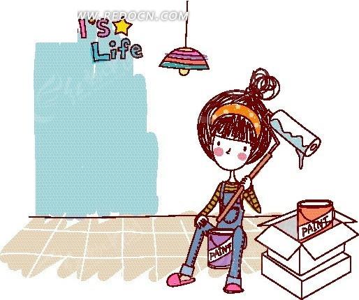 卡通儿童插画——装修房间的女孩矢量图