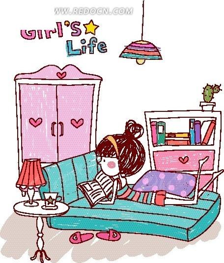 卡通儿童插画——趴在床上看书的女孩