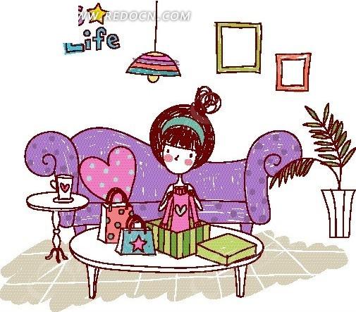 卡通儿童插画——桌上拿起衣服的女孩
