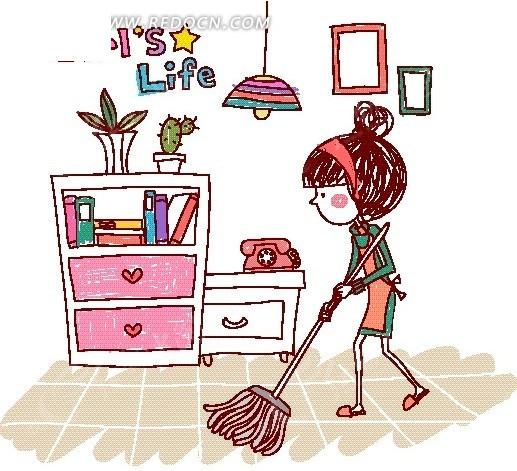 卡通儿童插画——扫地的女孩
