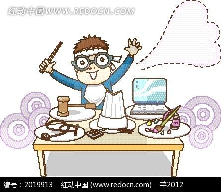 卡通画—桌子上的电脑和工具