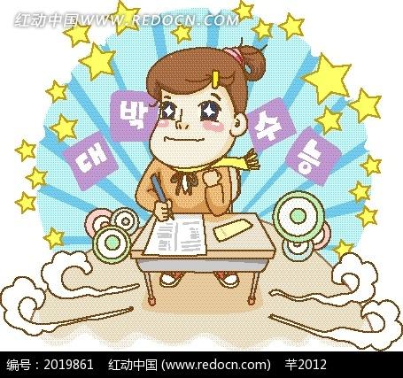 卡通画—光芒前的书桌和女学生