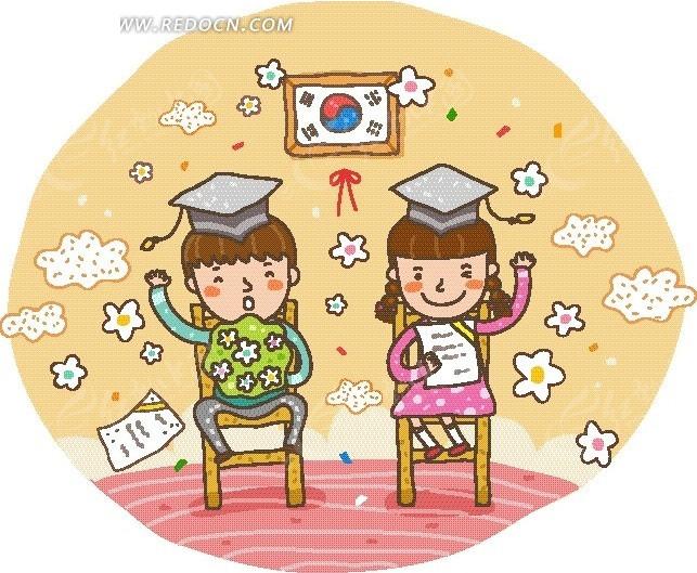 卡通画—韩国国旗前坐在椅子上的男女毕业生