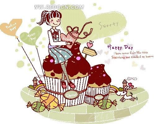 卡通人物插画——坐在大蛋糕上开心拿着心形的女孩