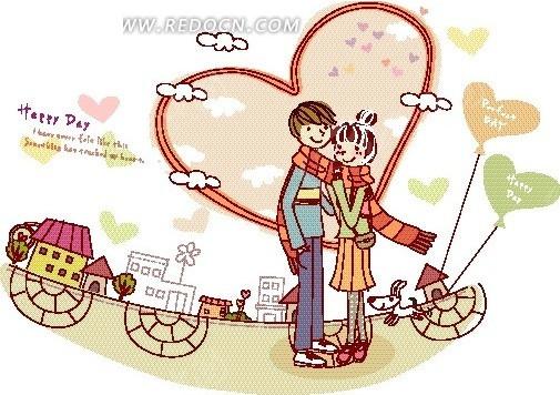 卡通人物插画——围着一条围巾的亲密情侣