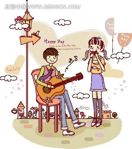 女友弹吉他的男孩