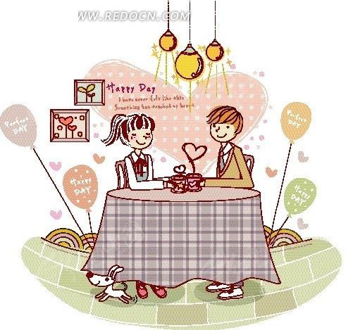 卡通人物插画——餐厅里开心喝茶的男女
