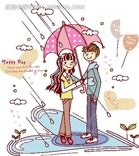 卡通人物插画——雨中打伞漫步的情侣