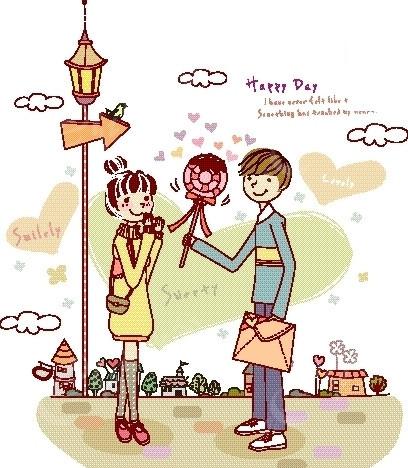 卡通人物插画——拿着大棒棒糖和信封给女孩的大男孩