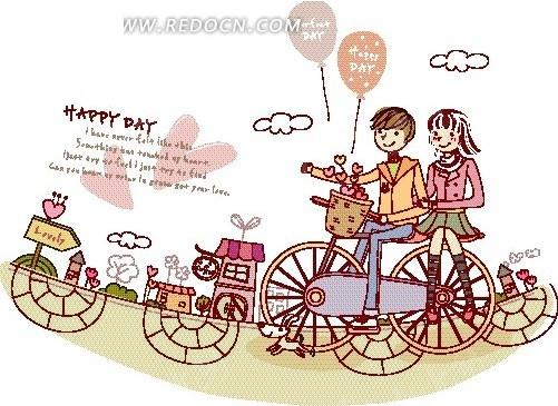 卡通人物插画——骑单车载着女孩兜风的大男孩