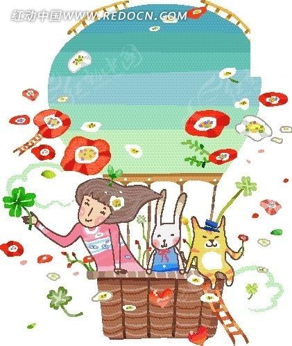 插画—热气球上的动物和女孩矢量图_卡通形象图片