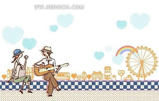 卡通儿童插画——对着女孩弹吉他的男孩