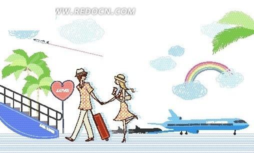 卡通儿童插画——准备上飞机的男女