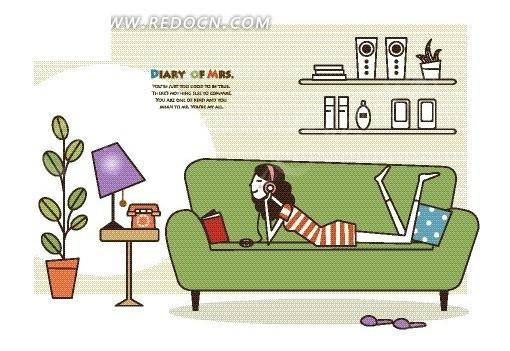 卡通人物插画——趴在绿色沙发上看书的女人