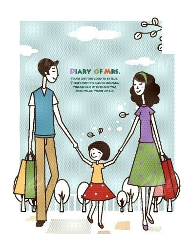 卡通人物插画——开心手牵手逛街的一家三口
