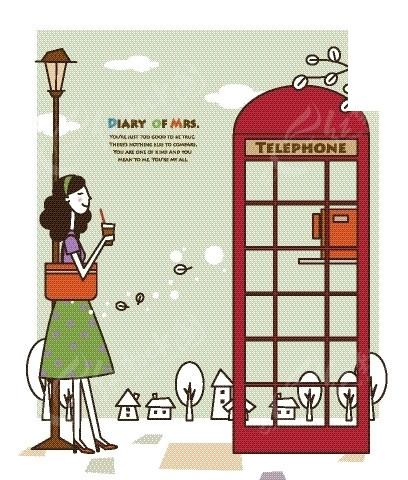 卡通人物插画——复古电话亭旁喝着奶茶的女人
