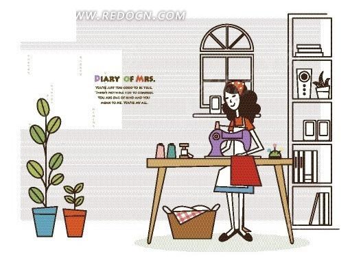 手绘插画女人卡通人物卡通人物图片漫画人物人物素材; 卡通人物服装