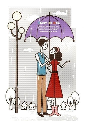 卡通人物插画——打着伞雨中聊天的情侣