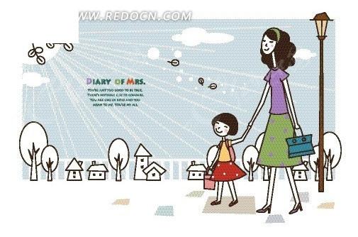 卡通人物插画——送女儿去上学的妈妈