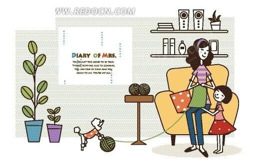 卡通人物插画——对着女儿笑织毛衣的妈妈