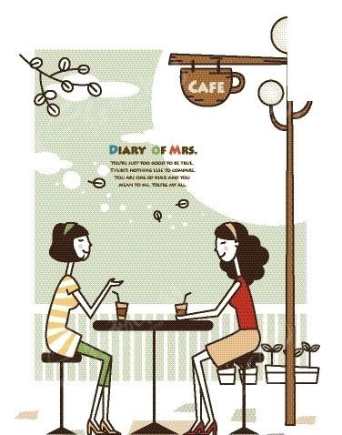卡通人物插画 一边聊天一边喝咖啡的女生矢量图 卡通形象图片