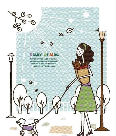 卡通人物插画——一手抱着食材一手牵着小狗的女人