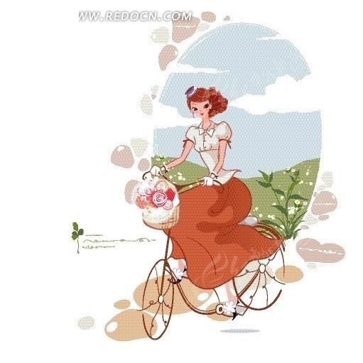 卡通人物插画——开心骑着单车的女人插画设计