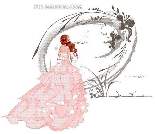 卡通人物插画——穿着粉色晚礼服的美女