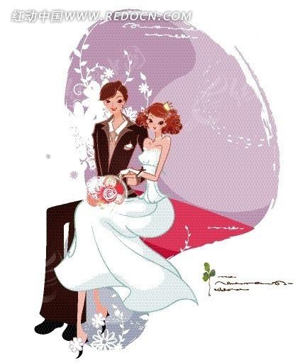 插画—坐在一起的新郎新娘矢量图