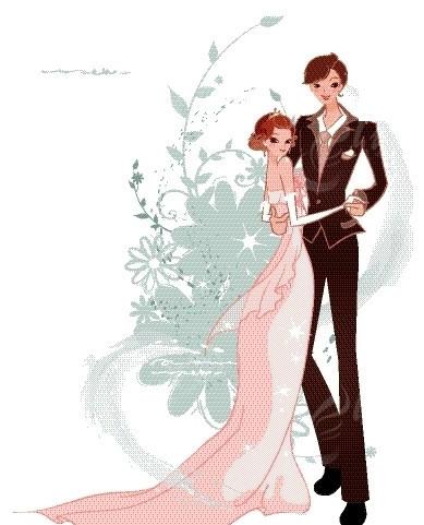 婚礼插画—抱在一起的新郎新娘矢量图