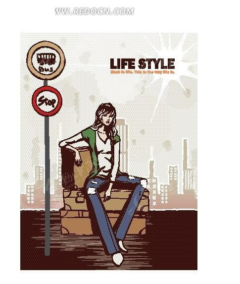 卡通人物插画——坐在行李箱上等公车的女人